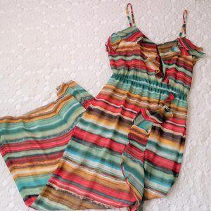 Cynthia Steffe 12 Maxi Dress V neck Stripe Ruffle